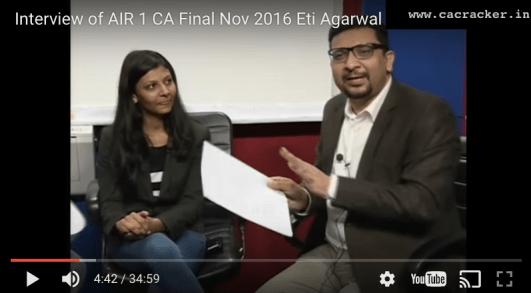 CA Final AIR 1 Eti Agarwal Intervew with CA Praveen Sharma