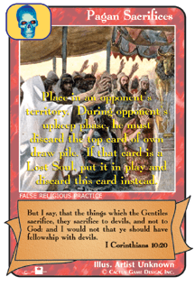 Pagan Sacrifices card from Redemption The Card Game