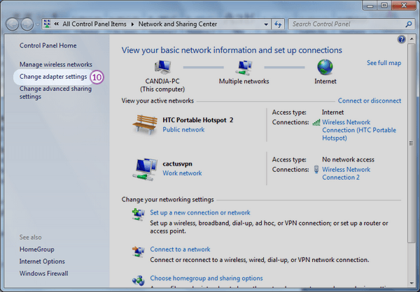 How to share VPN in Windows 7 using Wi-Fi | CactusVPN