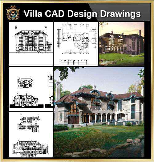 ★【Villa CAD Design,Details Project V.3-Italian Tuscany Style】Chateau,Manor,Mansion,Villa@Autocad Blocks,Drawings,CAD Details,Elevation