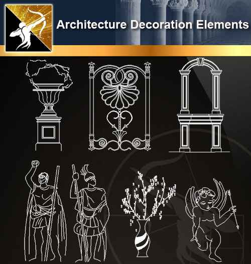 ★【 Free Architecture Decoration Elements V.6】@Autocad Decoration Blocks,Drawings,CAD Details,Elevation