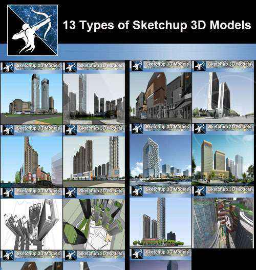 ★Best 13 Types of Skyscraper Architecture and tall buildings Sketchup 3D Models Collection