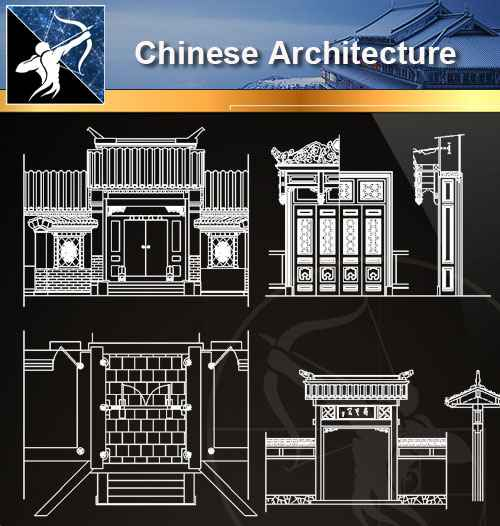 ★【Chinese Architecture CAD Drawings】@Autocad Blocks,Drawings,CAD Details,Elevation
