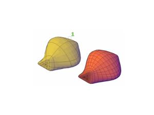 Ejemplo de una ejecución del comando MESHREFINE, donde (1) es la selección del objeto.