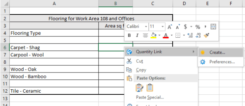 Selecting Quantity Link in Microsoft Excel