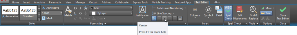 AutoCAD Multiline Text Editor