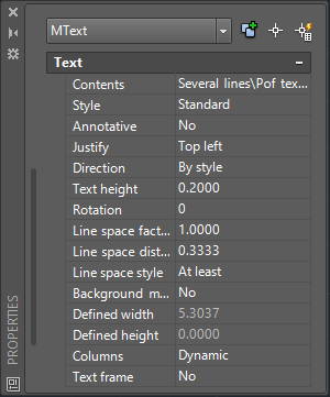 AutoCAD Multiline Text Properties