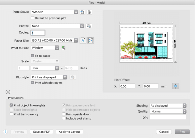 AutoCAD 2019 for Mac Plot Dialog
