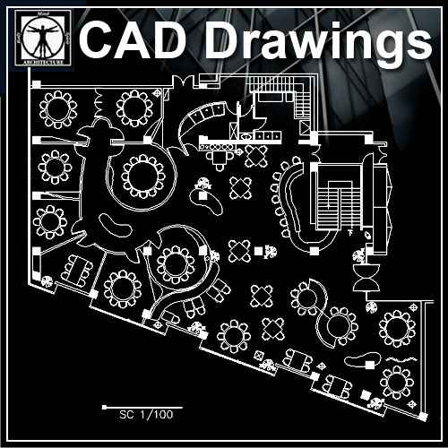Free Restaurant Plan – Download AUTOCAD Blocks,Drawings