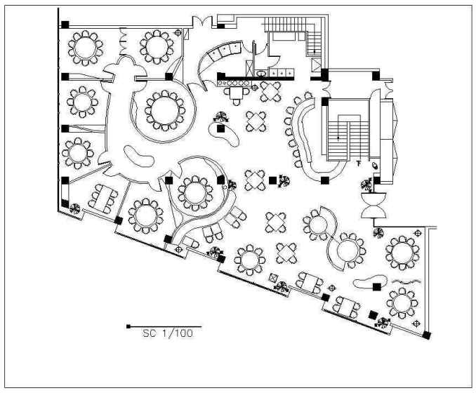free restaurant plan  u2013 download autocad blocks drawings