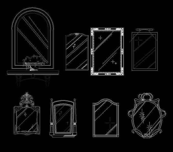 Free Mirror Blocks Download Autocad Blocks Drawings