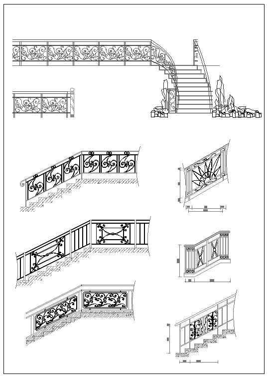 Ornamental Stair Parts - Download CAD Blocks,Drawings ...