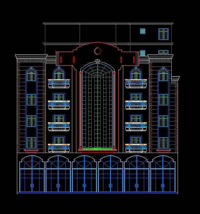 Building Elevation 9  Download AUTOCAD Blocks Drawings