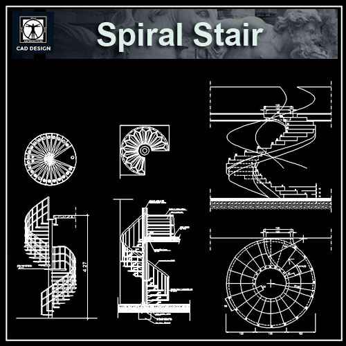Free spiral stair details download cad blocks drawings for Spiral staircase dwg
