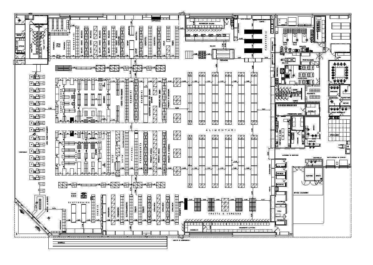 Supermarket plan design | Download CAD Blocks,Drawings,Details,3D ...