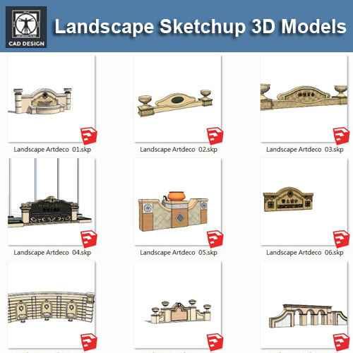 ArtDeco Landscape-Sketchup 3D Models(Best Recommanded