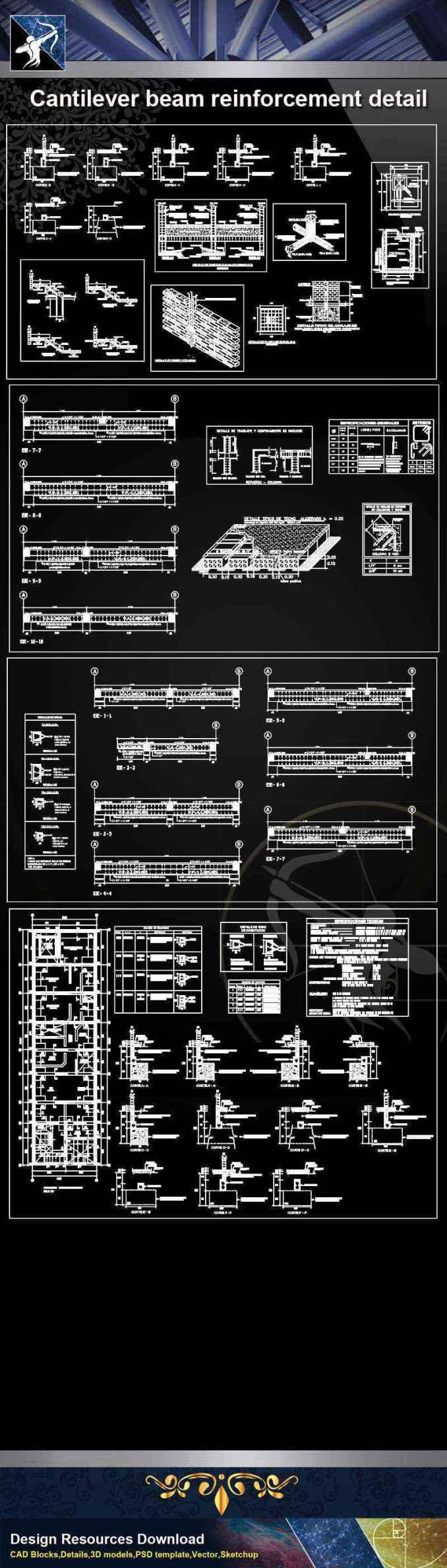 Cantilever beam reinforcement CAD Details
