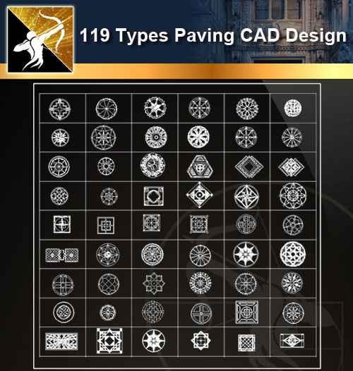 ★【119 Types CAD Paving Blocks】@Autocad Decoration Blocks,Drawings,CAD Details,Elevation