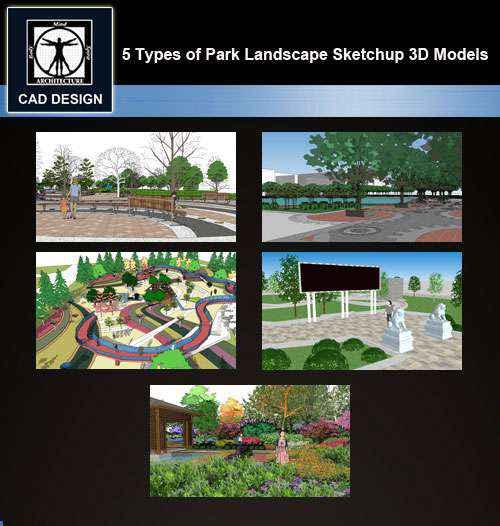 ★【Sketchup 3D Models】15 Types of Plaza Landscape Sketchup 3D Models V 1