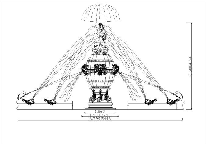 歐式花園造景、噴泉剖立面、花台、花盆詳圖