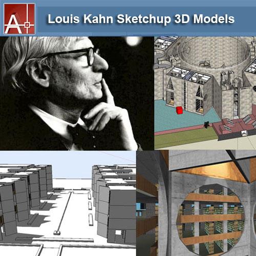 【建築大師Sketchup Models-Louis Kahn 路易斯·康 精選7件建築3D模型】