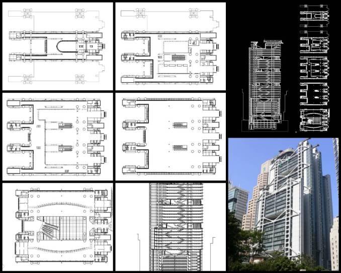 【世界知名建築案例研究CAD設計施工圖】匯豐香港銀行HSBC Hong Kong Bank