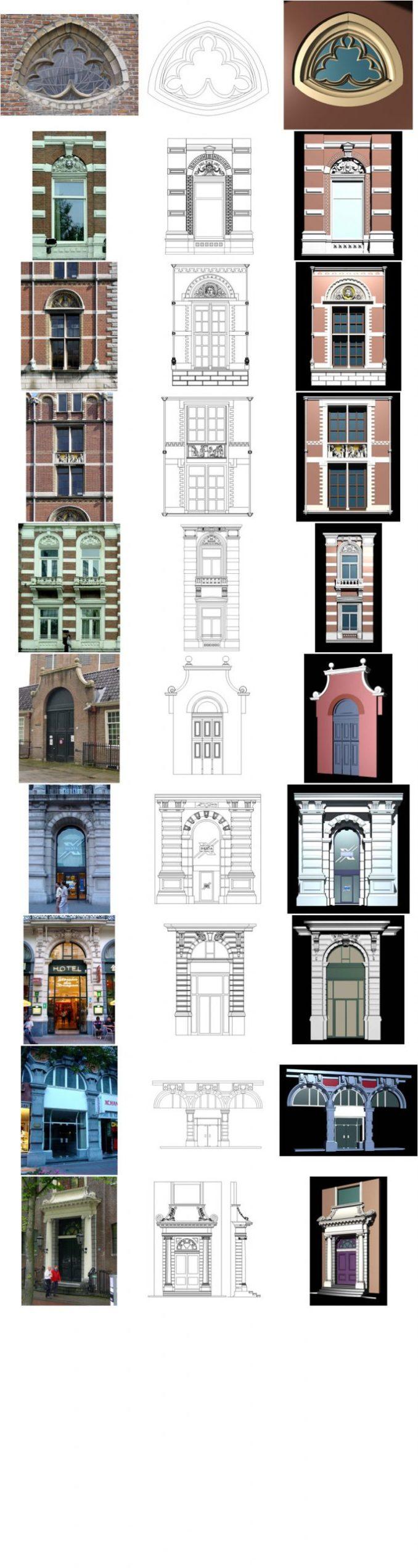 【歐式建築門窗CAD細部大樣圖】荷蘭建築·裝飾門窗CAD圖庫 Dutch building