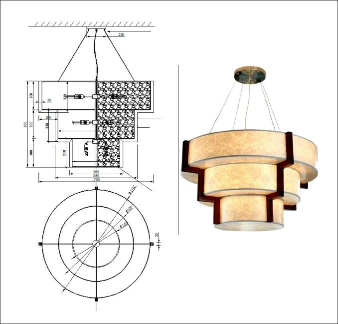 【各類型燈光照明燈具CAD】中式風格燈具吊燈檯燈CAD設計圖