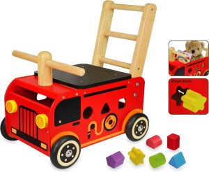 Houten brandweer loopwagen voor baby