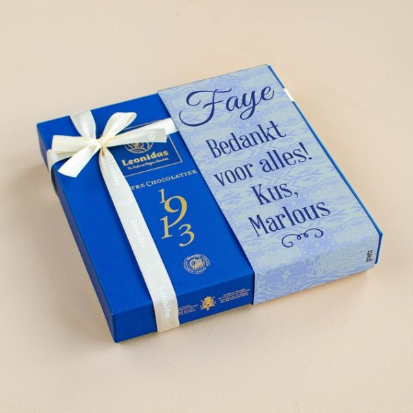 Leonidas Giftbox Blauw met eigen tekst