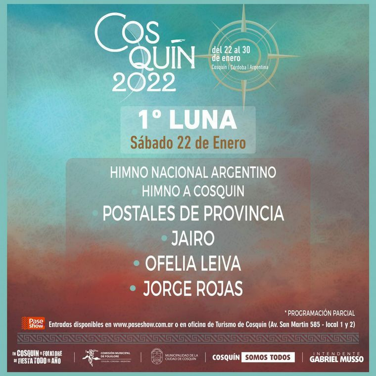 FOTO: El Festival de Cosquín 2022 será del 22 al 30 de enero.