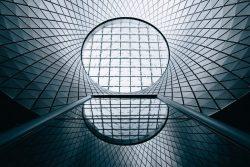 Geometric glass building