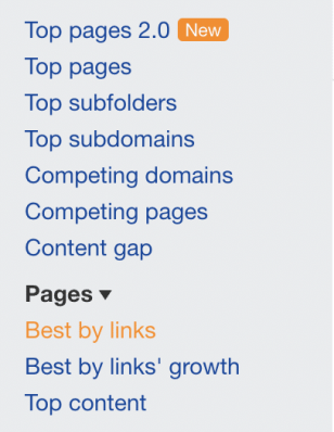 best by links tab in ahrefs backend