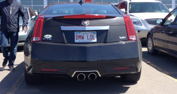 Recently, someone caught this Cadillac CTS-V coupe parked at a Shoppers Drug Mart store in New Brunswick, Canada with a vanity plate that pretty much says it all about how he feels about BMW.