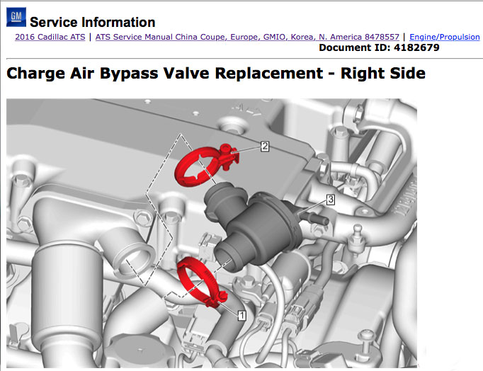 Screen shots of an illustration and math art related to removal of turbo charger plumbing from an LF4 in an ATS-V. Images: GMSi, use with permission.