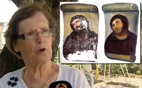 La autora de la restauración del  'eccehomo', Cecilia Giménez.