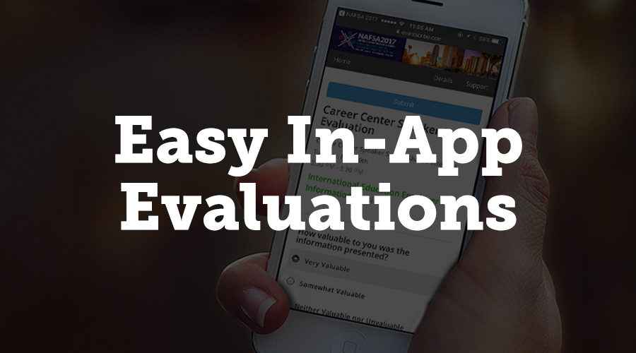 The NAFSA mobile app makes evaluations easier than ever for attendees and speakers. If an attendee is looking at a particular presentation in the app, there's an evaluation button at the bottom of the screen. When they click that button, the user is automatically signed into Survey Magnet®, CadmiumCD's product for on-site evaluations.