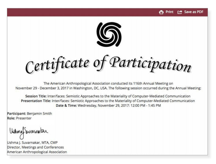 The Certificate Task is used in the Harvester to distribute a customized certificate for all participating speakers.