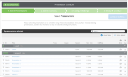 The Presentation Scheduler will be used to schedule submissions migrated as presentations from the Scorecard, or presentations imported into the Harvester, within the Logistics Module after Functions have been created. The step-by-step tool will walk you through how to schedule presentations within the assigned Functions.