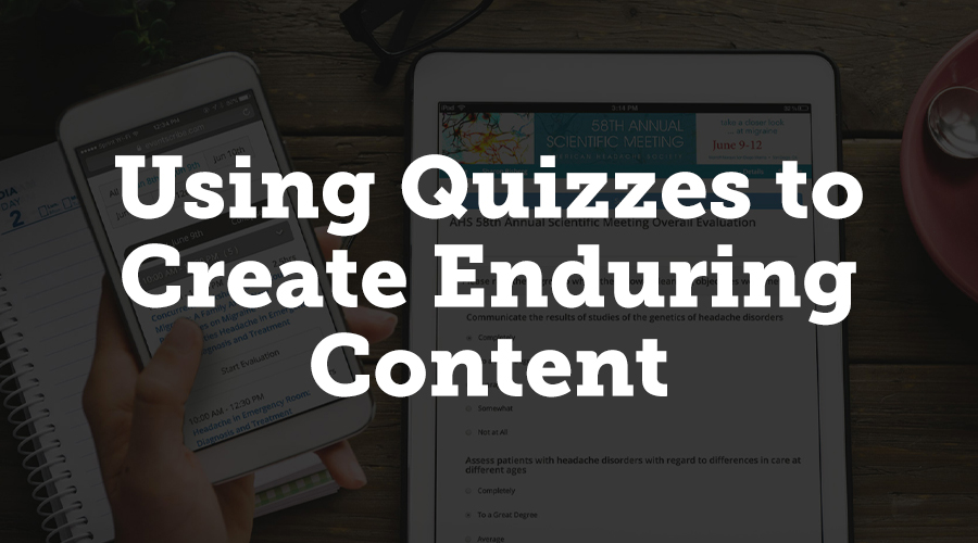 A flexible evaluation system, such as CadmiumCD's Survey Magnet, allows you to use quizzes in conjunction with your recorded content for continuing education credit. Users can earn CE credits for viewing a recorded presentation and completing a quiz on the content.