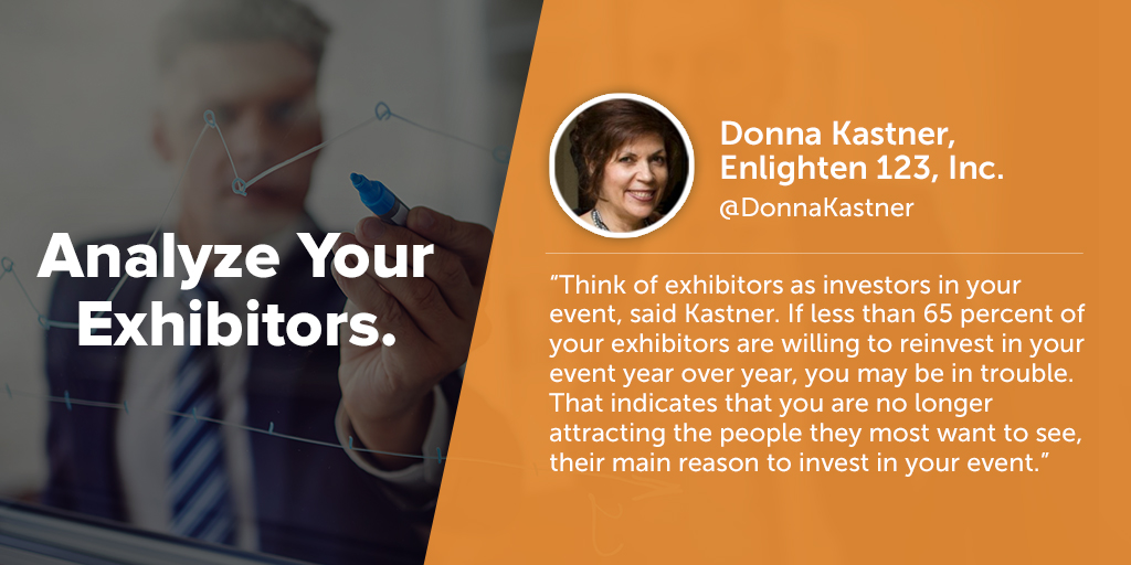 Inspiring quotes from event planners: Sue Pelletier of MeetingsNet says eventprofs must analyze your exhibitors.