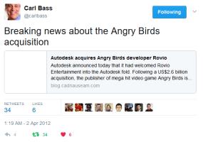 Autodesk acquires Angry Birds developer Rovio (repost)