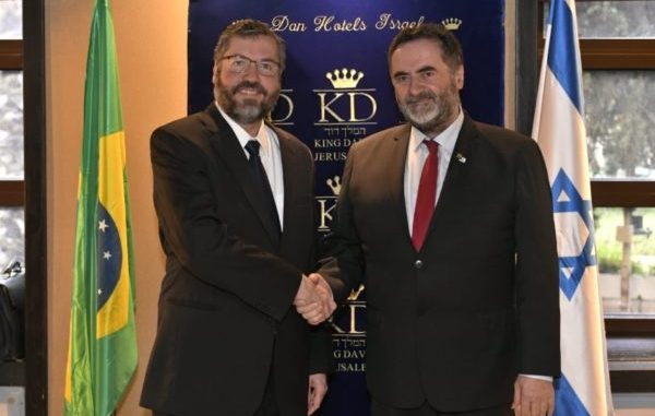 Ernesto Araujo e Israel Katz Foto: MFA GPO vía Twitter