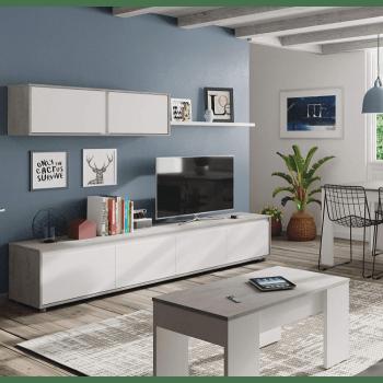 ensemble meuble tv alida 200 cm blanc mat et ciment