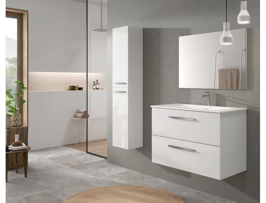meuble de salle de bain suspendu 80 cm laquee blanc brillant et miroir 305161bo couleur blanc brillant accessoires standard
