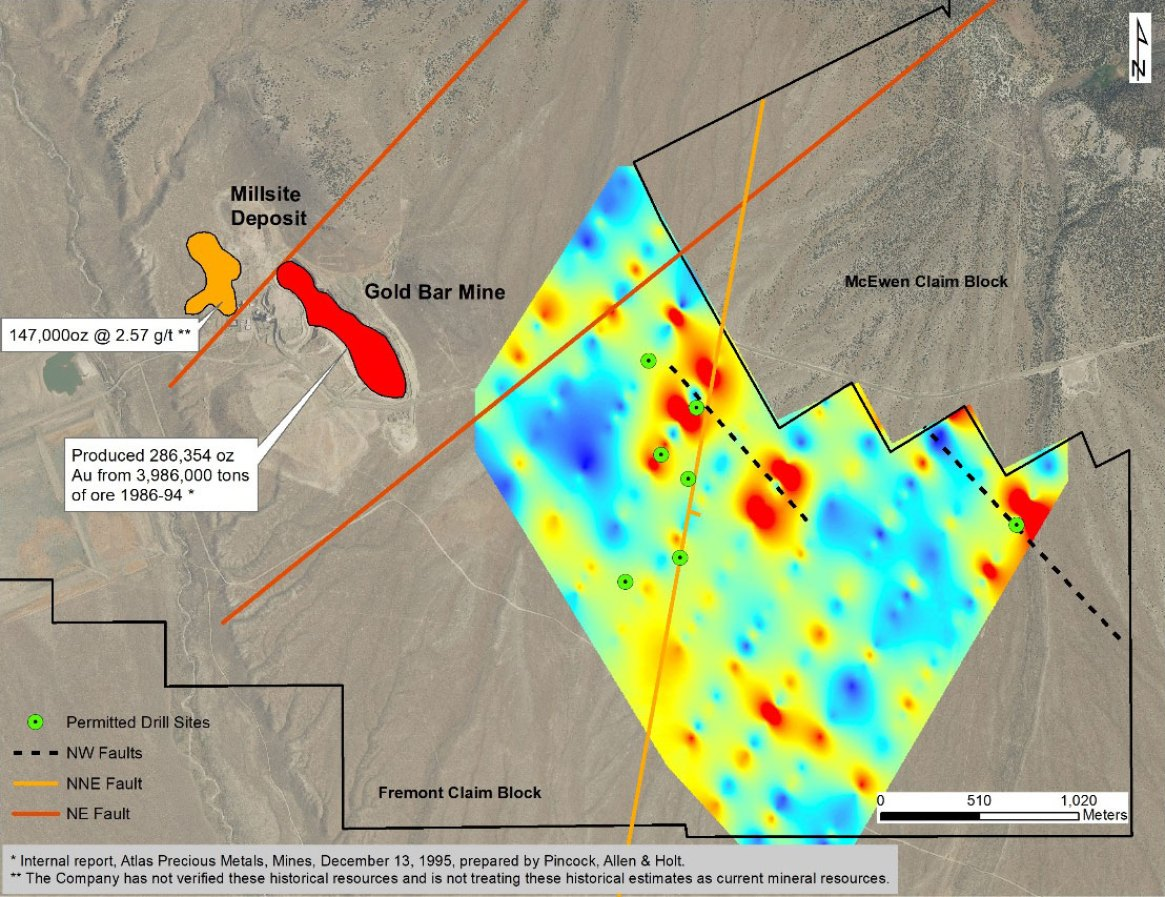 Permitted Drill Holes and Mercury Soil Anomalies to the Southeast of Historic Gold Bar Mine