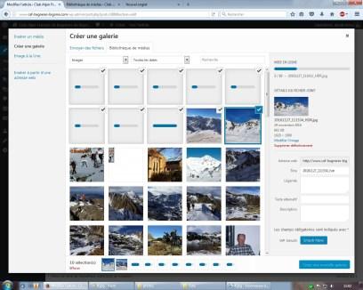 On arrive sur la page Bibliothèque de média ou sont regroupé tout les fichiers du site et où l'on voit les photos en train de charger.
