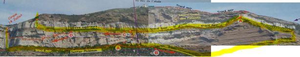 Vue d'ensemble du Cap Canaille sous le sémaphore : en jaune la traversée réalisée