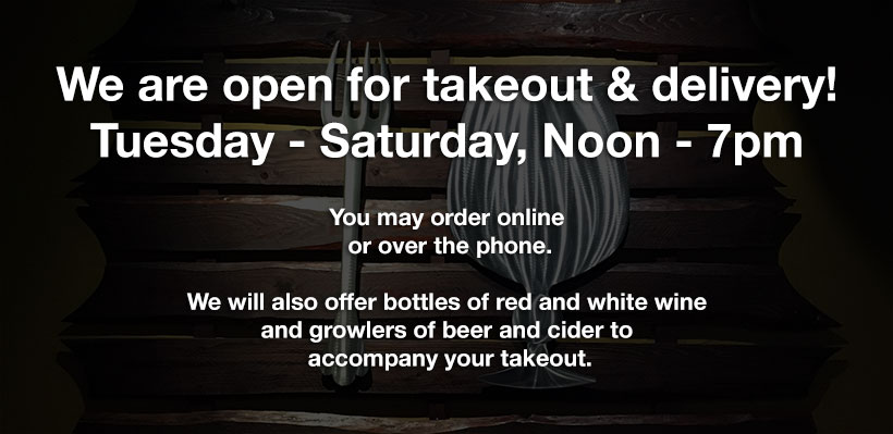 Open for takeout and delivery!