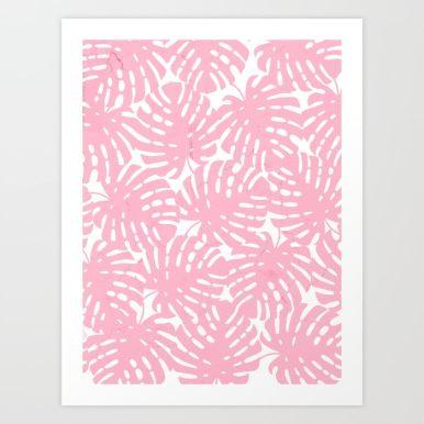 Pink Monstera Leaves